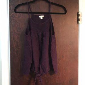 Dark purple tie front tank top